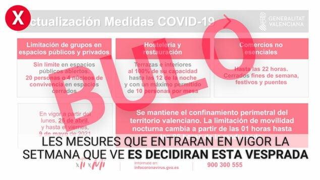 Imagen: Bulo medidas Covid - Comunidad Valenciana