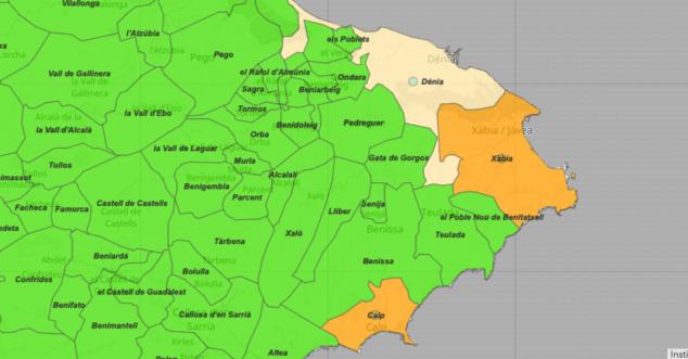 Imagen: Incidencia acumulada Coronavirus - Marina Alta