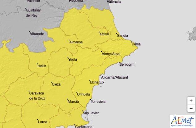 Imagen: Alerta amarilla por lluvias en la Marina Alta