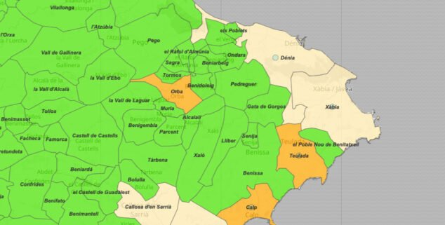 Imagen: Mapa incidencia acumulada Marina Alta 4 de mayo