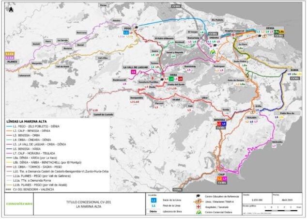 Imagen: Proyecto transporte público Marina Alta