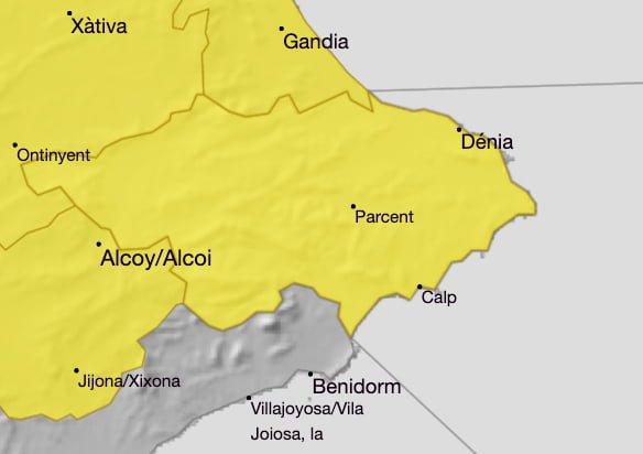 Imagen: Alerta amarilla por lluvia y granizo en la Marina Alta