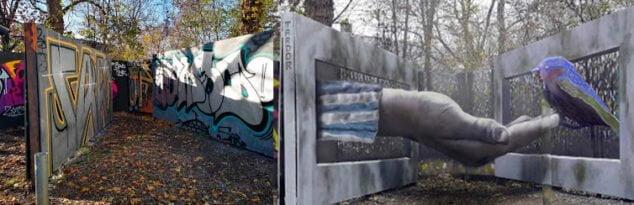 Imagen: Antes y después mural Dresde Alemania