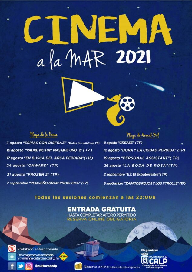 Imagen: Cartel de proyecciones Cinema a la Mar Calp 2021