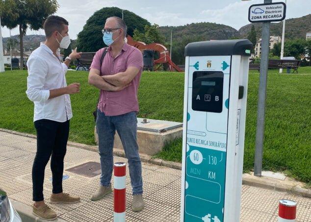 Imagen: Acto de inauguración del nuevo punto de carga de coches eléctricos