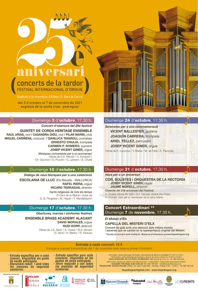 Imagen: Cartel 25 Festival Internacional d'Orgue de Pedreguer