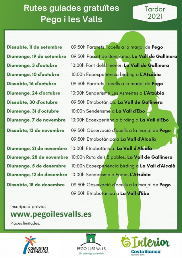 Imagen: Cartel Rutas guiadas Pego i les Valls