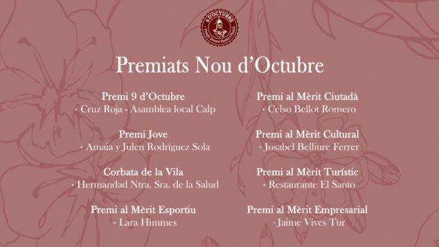 Imagen: Cartel de premiados Nou d'Octubre en Calp